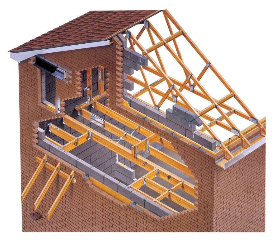 Cutaway illustration joists roof trusses by mark Floor joist trusses